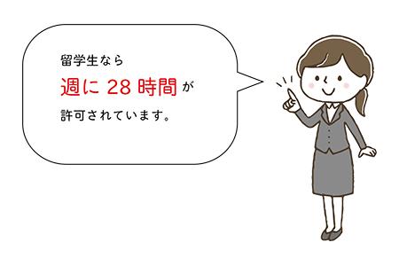 留学生なら週に28時間が許可されています。